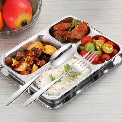Bộ khay đựng cơm 4 ngăn và muỗng nĩa cao cấp 304 của Hàn Quốc