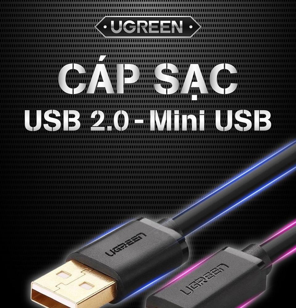 Dây USB 2.0 sang Mini USB dài từ 0,25-3M UGREEN US132