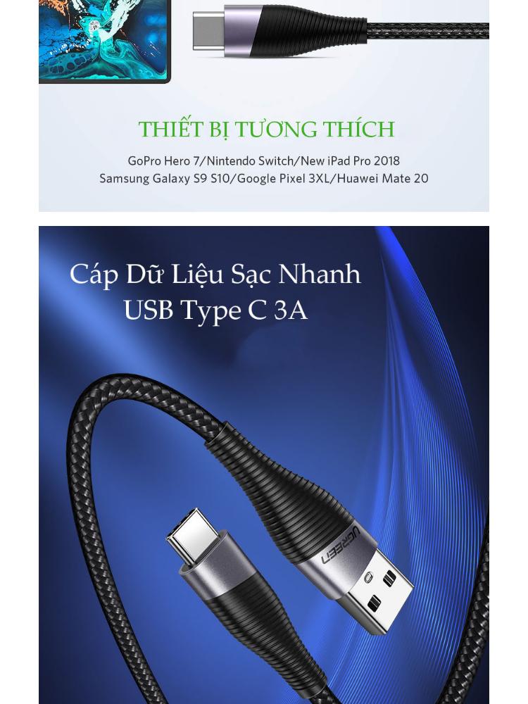 Dây cáp sạc và truyền dữ liệu USB type C, hỗ trợ sạc nhanh dòng 3A, vỏ bện nylon UGREEN ED022