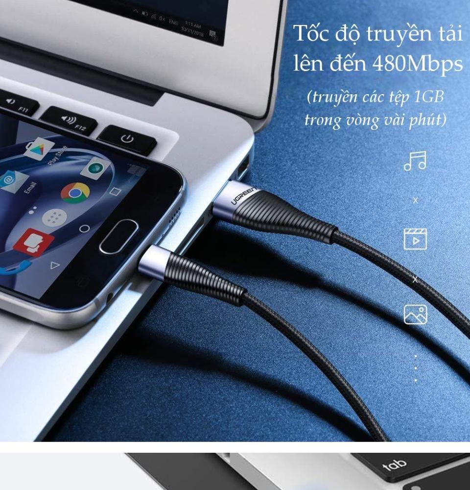 Cáp sạc và truyền dữ liệu cho điện thoại Android, USB 2.0 sang Micro USB (hỗ trợ sạc nhanh 18W, 5V-2.4A, công nghệ sạc Quick Charge 3.0) dài 0.5-2m UGREEN ED017
