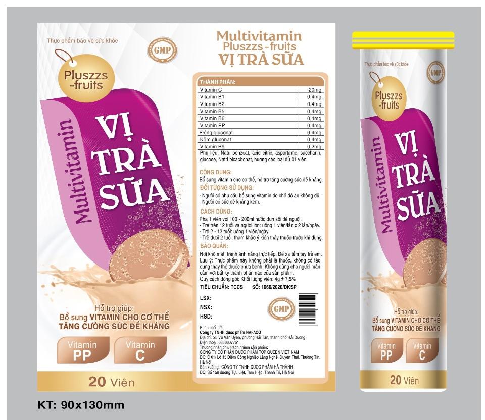Viên Sủi Multivitamin Pluszzs -Fruits Vị Trà Sữa- Giúp Bổ Sung Vitamin C,B1,B2, Kẽm , Giúp Tăng Cường Thể Lực, Tăng Sức Đề Kháng- Tuýp 20 viên 4g 3