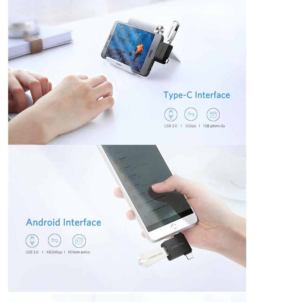 Đầu chuyển Micro USB + USB - C sang USB 3.0 UGREEN 30453