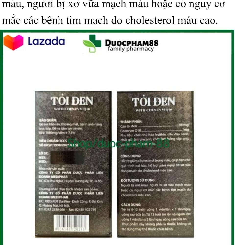Tăng cường sức đề kháng Tỏi Đen With Coenzym Q10 bổ tim hạ huyết áp hộp 30 viên 4