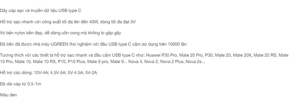 Dây cáp sạc và truyền dữ liệu USB type C công suất tối đa lên đến 40W, dòng tối đa đạt 5A, vỏ bện nylon UGREEN US279