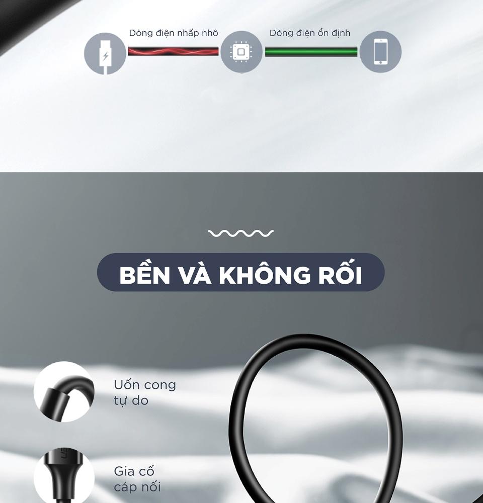 Cáp sạc nhanh USB Type C (A sang C) UGREEN US287 - Dòng sạc tối đa 3A, độ dài từ 0.25-2m, tương thích với Android / Samsung / Xiaomi / Redmi / Huawei / Oppo / Vivo / Realme