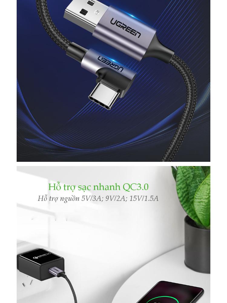 Cáp sạc USB 2.0 sang USB Type C UGREEN US284 - Đầu vuông góc 90 độ, vỏ bện nylon dài 1m đến 2m, tương thích với điện thoại Samsung / Oppo / Xiaomi / Huawei / Vivo