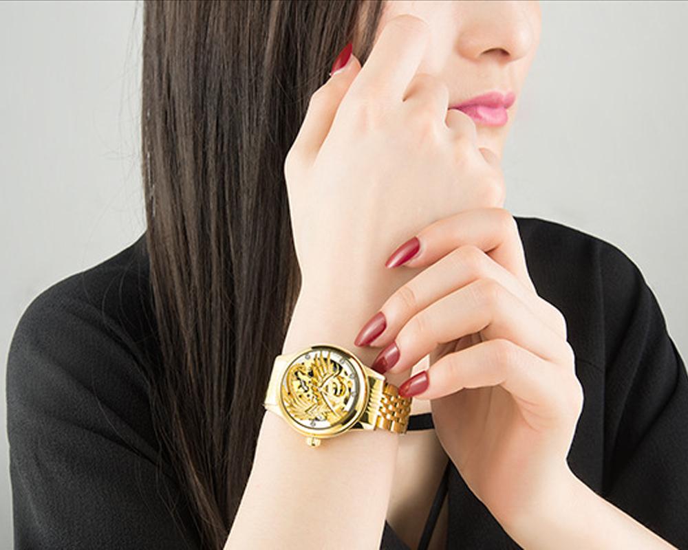 Đồng hồ nữ Tevise máy cơ mặt phượng 3D