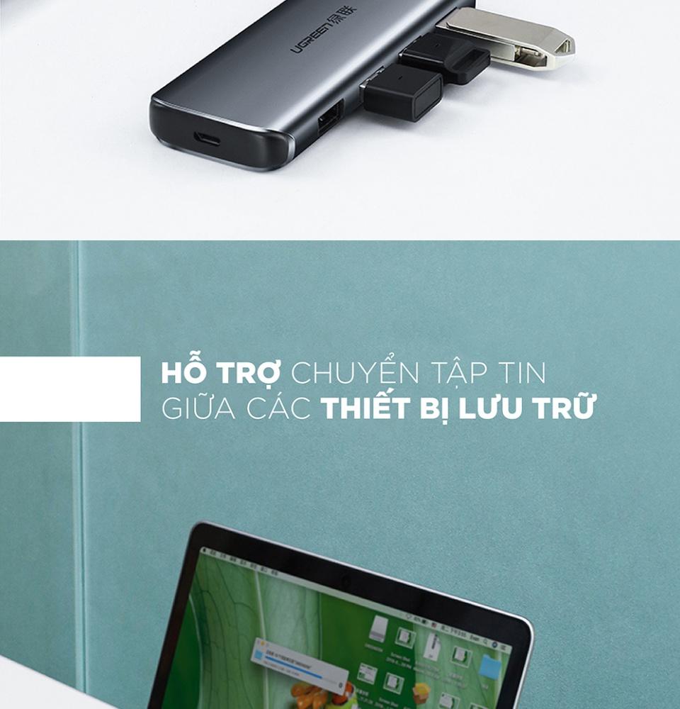 Bộ chia USB 3.0 ra 4 cổng USB 3.0 vỏ nhôm cao cấp, hỗ trợ đọc ổ cứng HDD, SSD lên tới 6TB UGREEN 50768