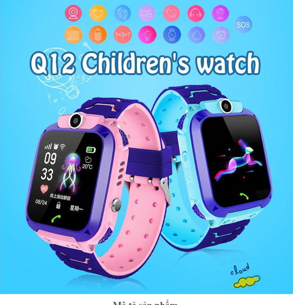 Trợ Giá] Đồng hồ thông minh Q12 chống nước tốt dành cho trẻ em | Đồng Hồ  Thông Minh