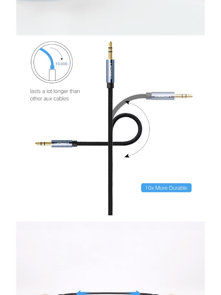 Dây âm thanh 3.5mm 1 đầu vuông góc vỏ bện vải sợi tổng hợp dài 0.5-2m UGREEN AV112