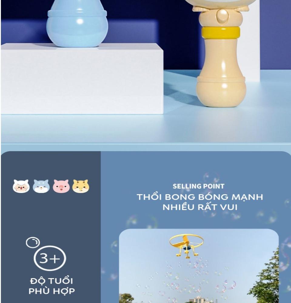 Đồ chơi cây thổi bong bóng xà phòng kèm chong chóng bay thiết kế hiện đại hoạt hình ngộ nghĩnh 7