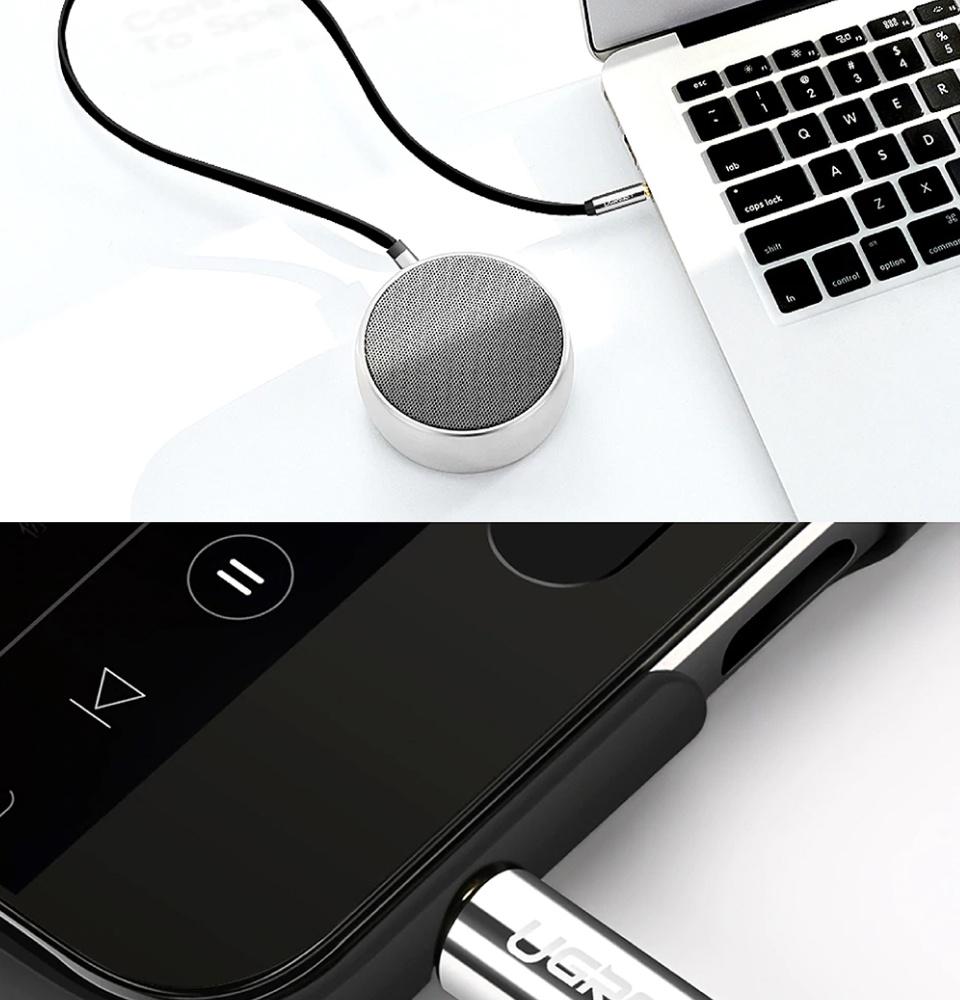 Dây Audio 3.5mm dẹt, 1 đầu vuông 90, TPE UGREEN AV119