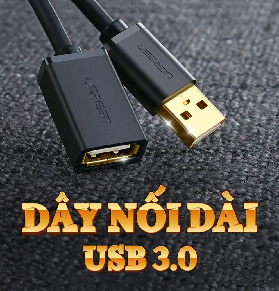 Dây nối dài USB 3.0 dạng dây dẹt và tròn, dài 1-3M, tốc độ truyền tải lên đến 5Gbps UGREEN US129