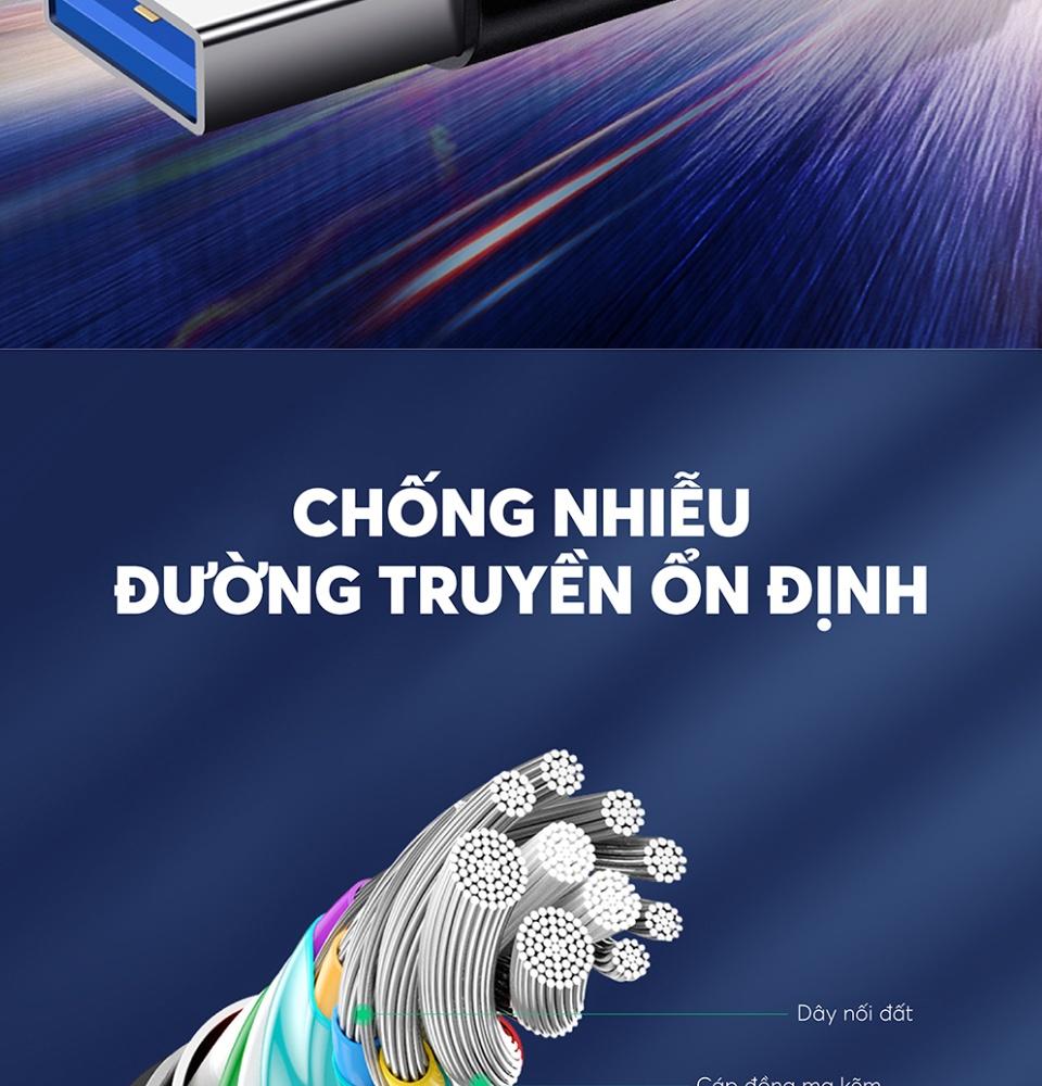 Dây cáp sạc và truyền dữ liệu tốc độ nhanh USB 3.0 sang USB type C, dòng 3A, dài 0.5-2m UGREEN US184