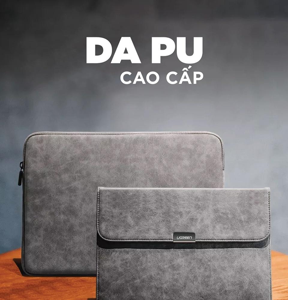 Túi ( cặp ) đựng bảo vệ iPad 3 lớp bề mặt da lộn, lót lông chống sốc, chống thấm nước, cho iPad, latop kích thước 12.9 inch, nắp từ tính UGREEN LP187