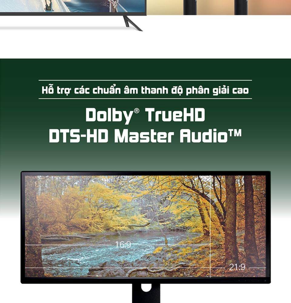 Dây cáp HDMI 2.0 4K/60Hz UGREEN HD116 thuần đồng khử Oxy hóa, dài 0.5m 1m 2m 3m