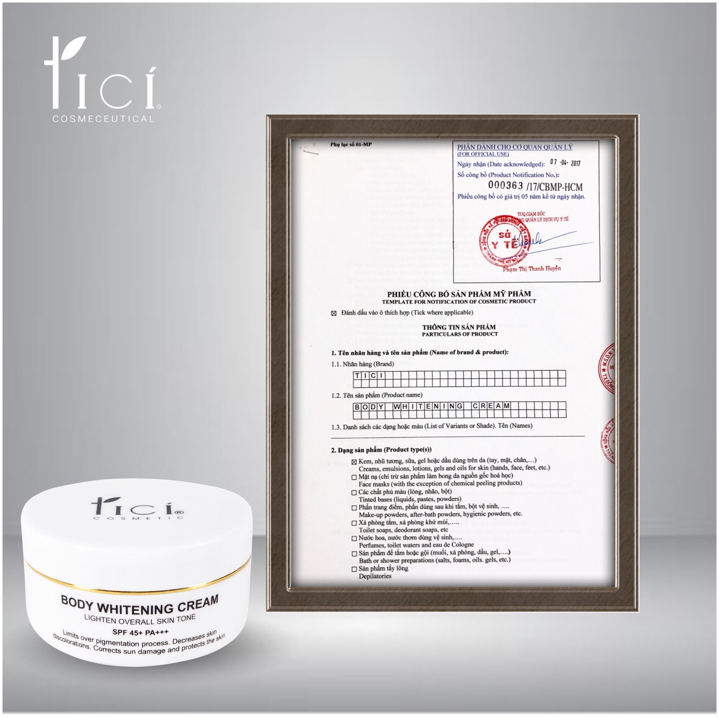 Kem dưỡng ẩm toàn thân TICI BODY WHITENING CREAM 150gr (Ảnh 14)