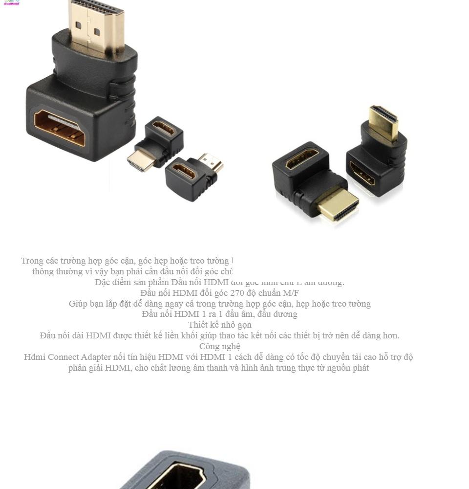 Đầu nối HDMI Đầu nối HDMI 90 đọ L Connect Adapter (Đen) Đầu nối HDMI đổi góc chữ L âm dương Hdmi Connect Adapter 2