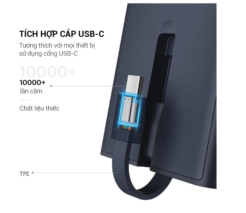 Pin sạc dự phòng QC 3.0 có cáp Type C 10000mAh màu xanh UGREEN PB108 40972
