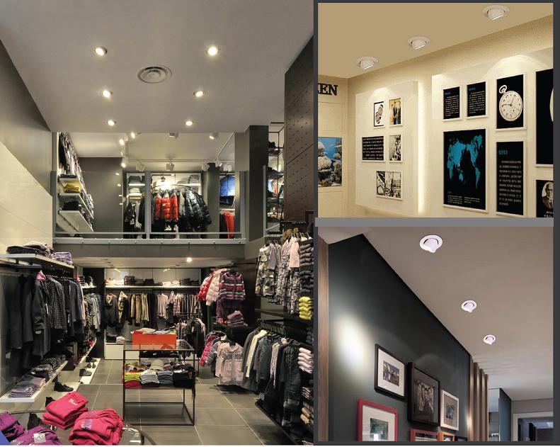 Đèn led âm trần xoay góc ứng dụng trang trí cửa hàng – phòng triển lãm