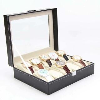Hộp đựng đồng hồ bằng da 10 ngăn, khóa chốt bảo vệ, chống ẩm, có gối hộp đựng đồng hồ thumbnail