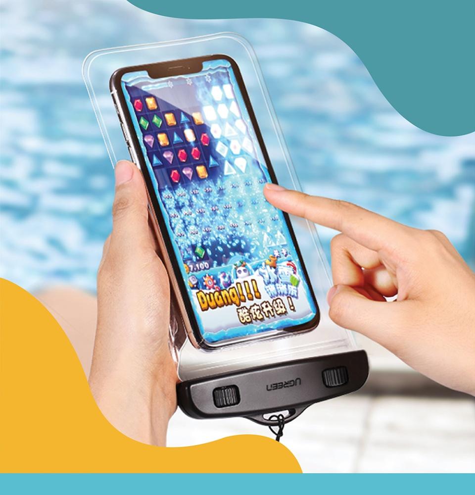 Túi đựng điện thoại chống nước tiêu chuẩn IPX 8 độ sâu 10m, trong suốt cho màn hình từ 4 đến 6.5 inch UGREEN 60959 50919