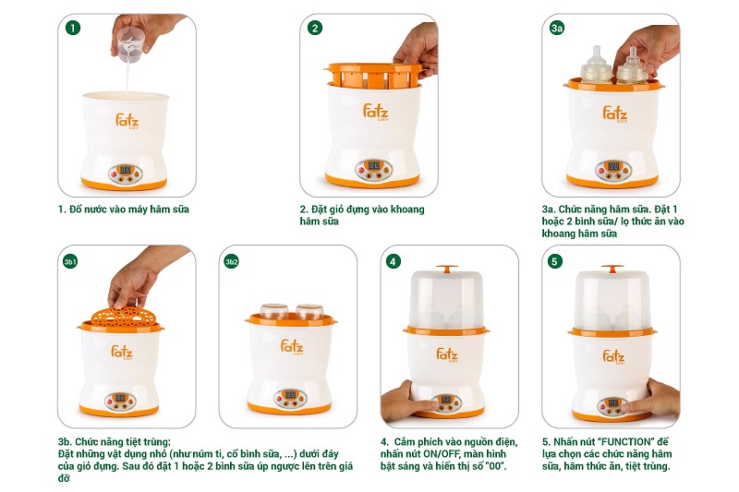 Máy Hâm Sữa Fatz Baby Hai Bình Cổ Rộng Thế Hệ Mới FB3012SL:3984