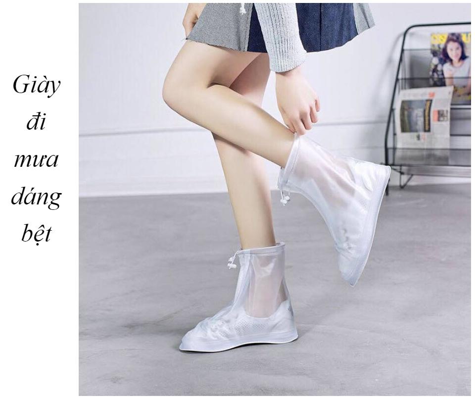 Giày đi mưa dáng bệt không ngấm nước thông minh chống trượt siêu bền 2