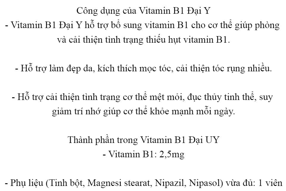 [lọ 300 viên] Viên uống Vitamin B1-giúp phòng và cải thiện tình trạng thiếu hụt vitamin B1,Hỗ trợ làm đẹp da, kích thích mọc tóc, cải thiện tóc rụng nhiều. 2