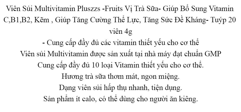 Viên Sủi Multivitamin Pluszzs -Fruits Vị Trà Sữa- Giúp Bổ Sung Vitamin C,B1,B2, Kẽm , Giúp Tăng Cường Thể Lực, Tăng Sức Đề Kháng- Tuýp 20 viên 4g 2