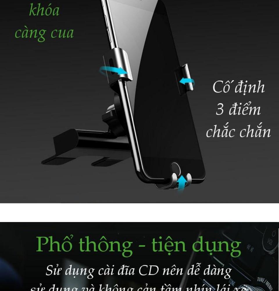 Giá đỡ điện thoại kẹp khe đĩa CD trên ô tô kích thước từ 4-6.2 inch, chất liệu hợp kim nhôm UGREEN LP144 50396