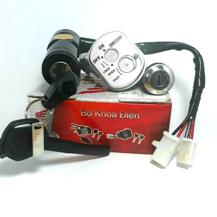 Bộ ổ khóa xe máy Wave Rs 100, Wave S 100 từ 2008-2010 2 CẠNH SE ( khóa điện  và khóa yên)