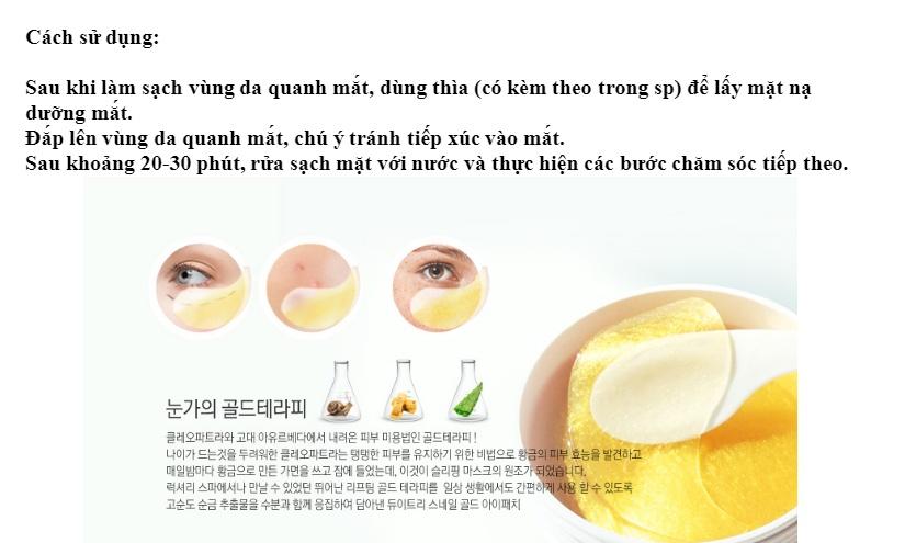 Kết quả hình ảnh cho Mặt Nạ Trị Xóa Nhăn Vùng Mắt 3W Clinic Collagen Luxury Gold 90g