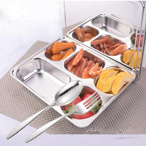 bộ khay cơm inox 304 cao cấp có nắp inox và muỗng nĩa inox đặc, 3 món được nhập khẩu trực tiếp từ Hàn Quốc.