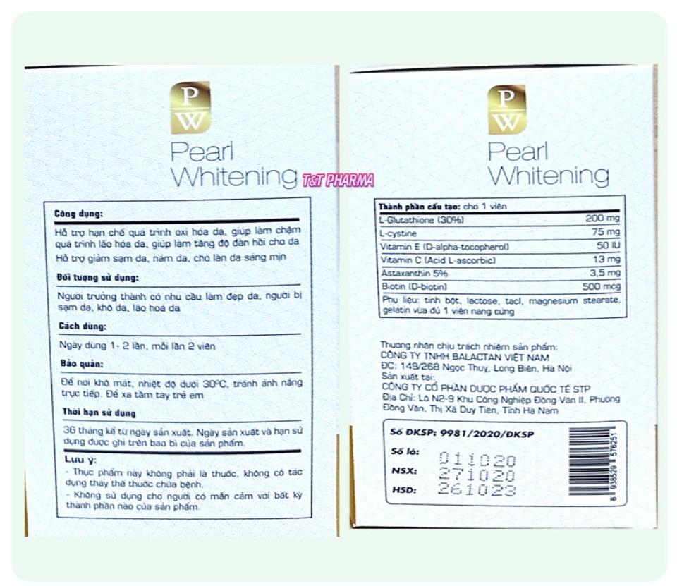 Viên Uống Trắng Da Toàn Thân Pearl Whitening- Với thành phần L-Glutathion,L-cystine Giúp trắng da, mờ nám, tàn nhang- hộp 30 viên 3