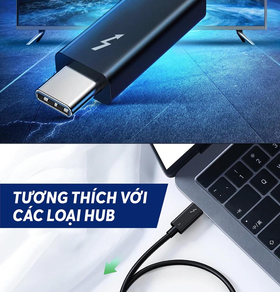 THUNDERBOLT 3 (USB Type-C Gen 3) truyền dữ liệu 40Gbps, xuất hình ảnh 5K60Hz, sạc 100W, dài 0.5-2m UGREEN US341