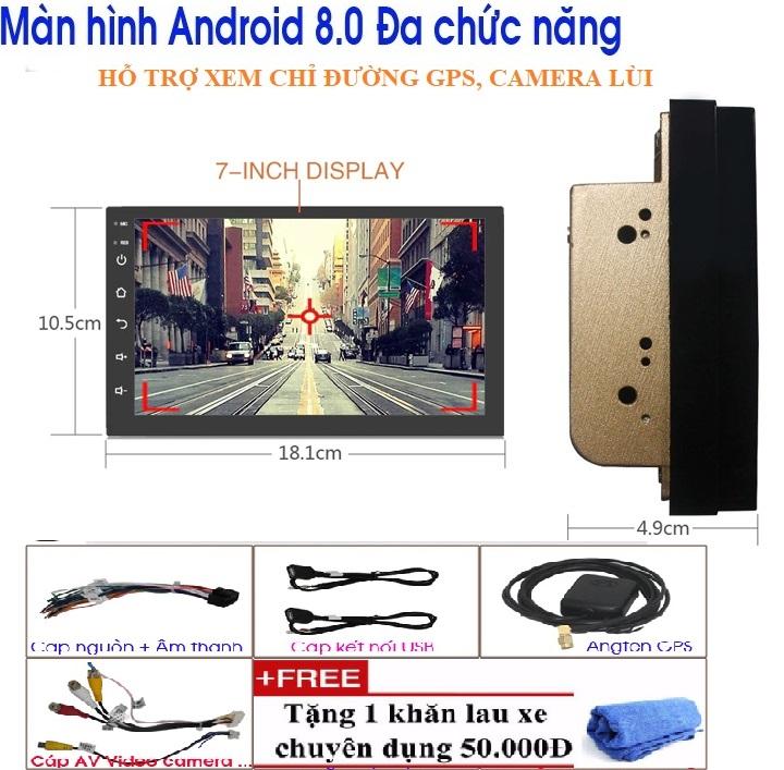 đầu dvd xe hơi giá rẻ - Màn hình kết nối internet WIFI cho ô tô, chạy hệ điều hành android 8.1,sử dụng Tiếng Việt, Tích hợp GPS chỉ đường, camera lùi, Phụ tùng xe hơi đẳng cấp LẮP NHIỀU DÒNG XE TẶNG MẶT DƯỠNG VÀKHĂN LAU CAO CẤP TB2019001