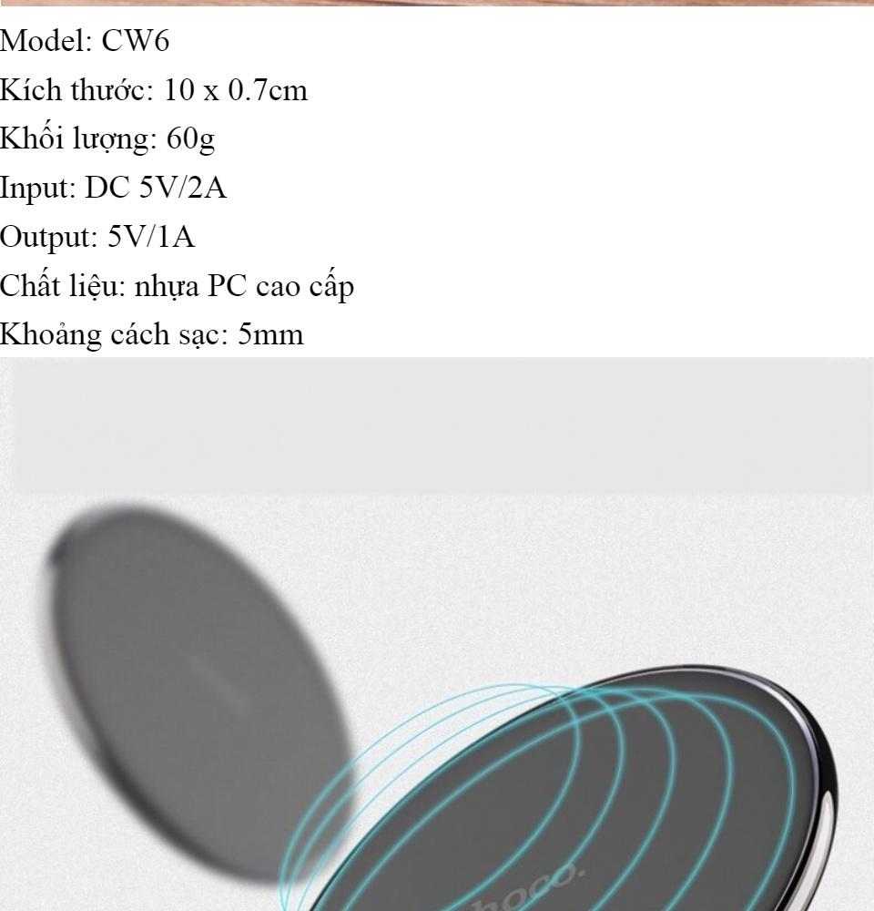 [HCM](Siêu Sale) Đế Sạc Không Dây - Hoco Cw6 - Hỗ Trợ Sạc Chuẩn Qi Thiết Kế Nhỏ Và Tinh Tế TÍch Hợp Thêm Đèn Led Hỗ Trợ Sạc Nhanh Với Nguồn Ra Lên Đến 5v 1aViền Cao Su Chống Trượt Chuẩn Kết Nối Từ 5-8mm Tối Ưu Hóa Thời Gian Sạc Cho Người Dùng 8