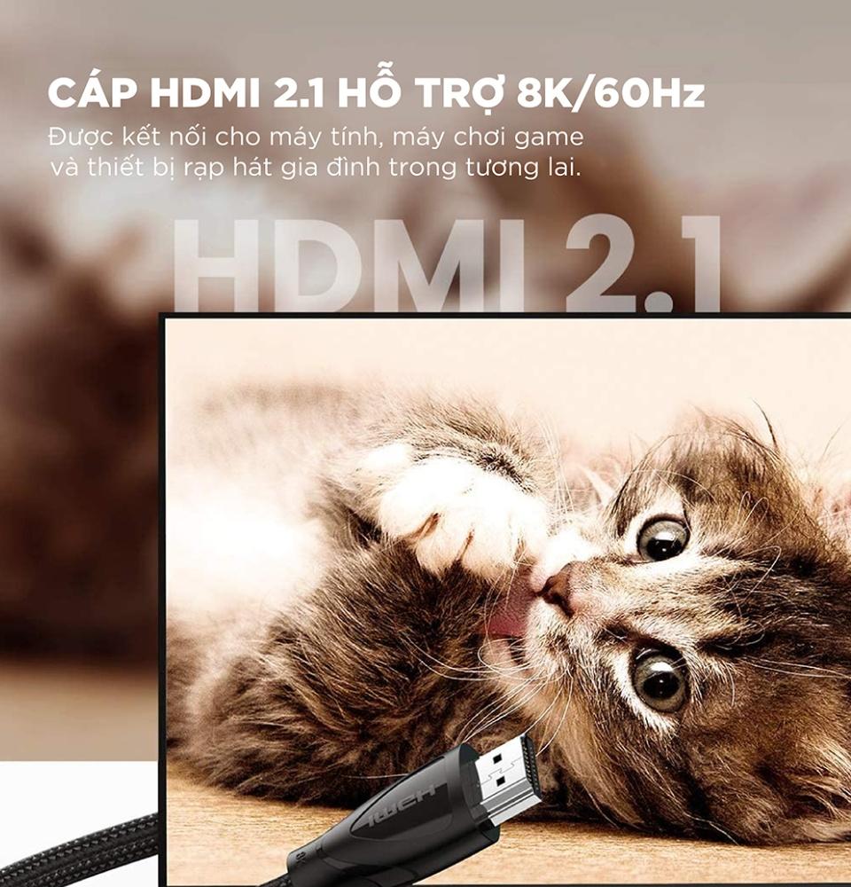 Cáp HDMI 2.1 hỗ trợ 8K/60Hz dài 1-2m UGREEN HD140