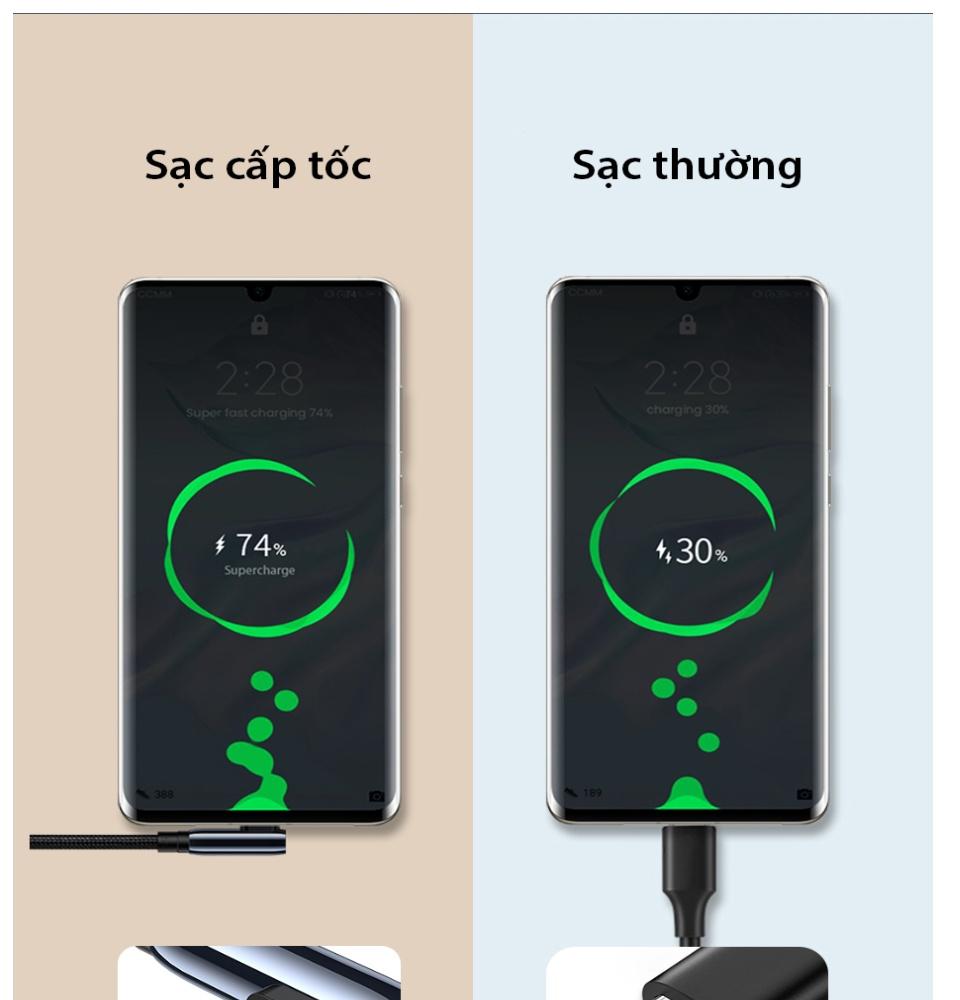 Cáp sạc USB 2.0 sang type C sạc nhanh 40W hỗ trợ sạc nhanh Huawei chống mòn UGREEN US317