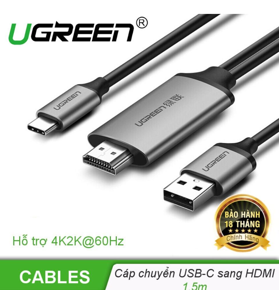 Dây cáp chuyển đổi USB type C sang HDMI, hỗ trợ cổng nguồn sạc USB2.0, dài 1.5m, hỗ trợ 4K UGREEN CM183 50544