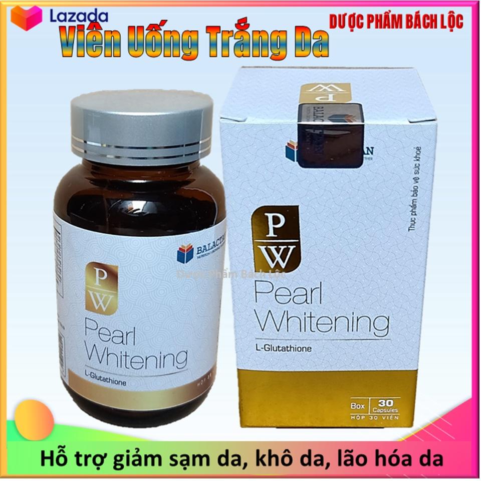 Viên Uống Trắng Da Toàn Thân Pearl Whitening- Với thành phần L-Glutathion,L-cystine Giúp trắng da, mờ nám, tàn nhang- hộp 30 viên 1