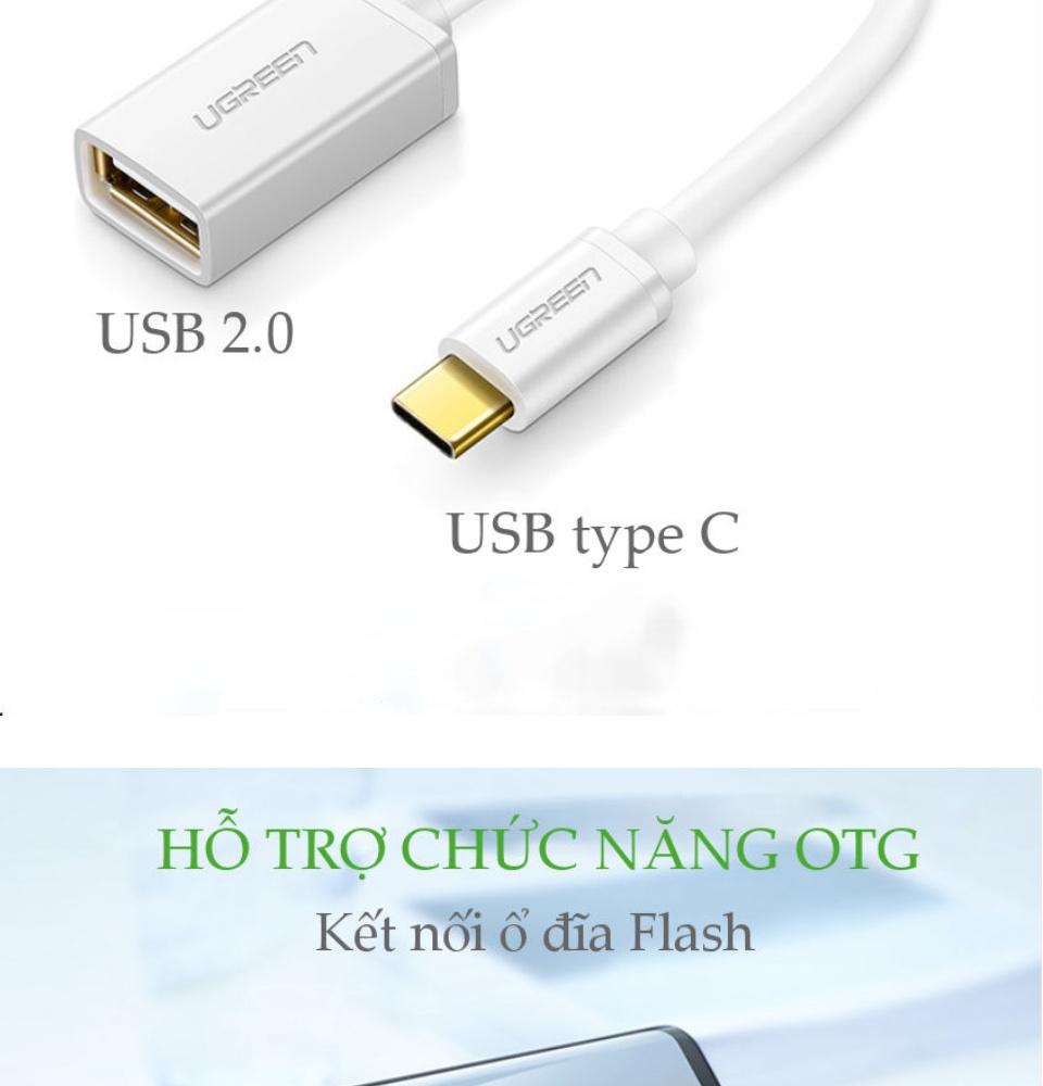 Cáp USB type C hỗ trợ chức năng OTG dài 15cm UGREEN US154