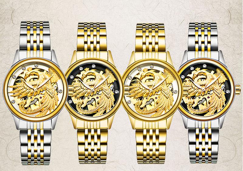 Đồng hồ nữ Tevise máy cơ mặt phượng 3D (4 màu)