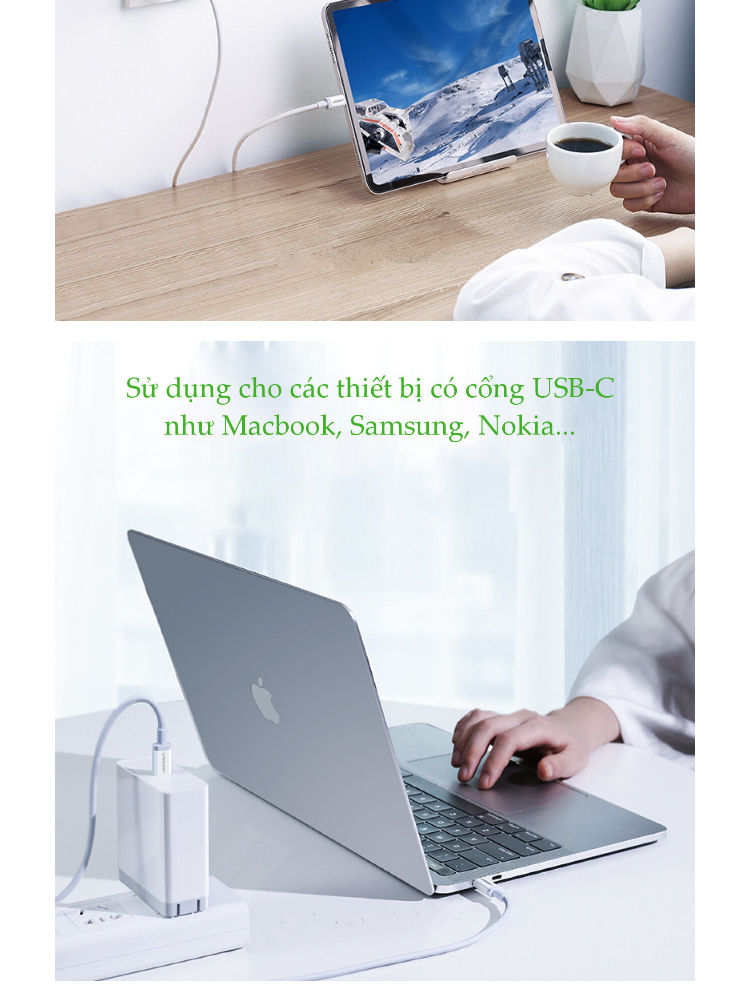 Cáp USB Type C sang USB Type C kết nối sạc và truyền dữ liệu, hỗ trợ sạc nhanh PD cho MacBook 2018, Samsung Galaxy note10, S10, S9, Huawei P30, iPad Pro 2018, Macbook Pro 2018, PD Charger, Huawei P20..., chất liệu ABS UGREEN US264