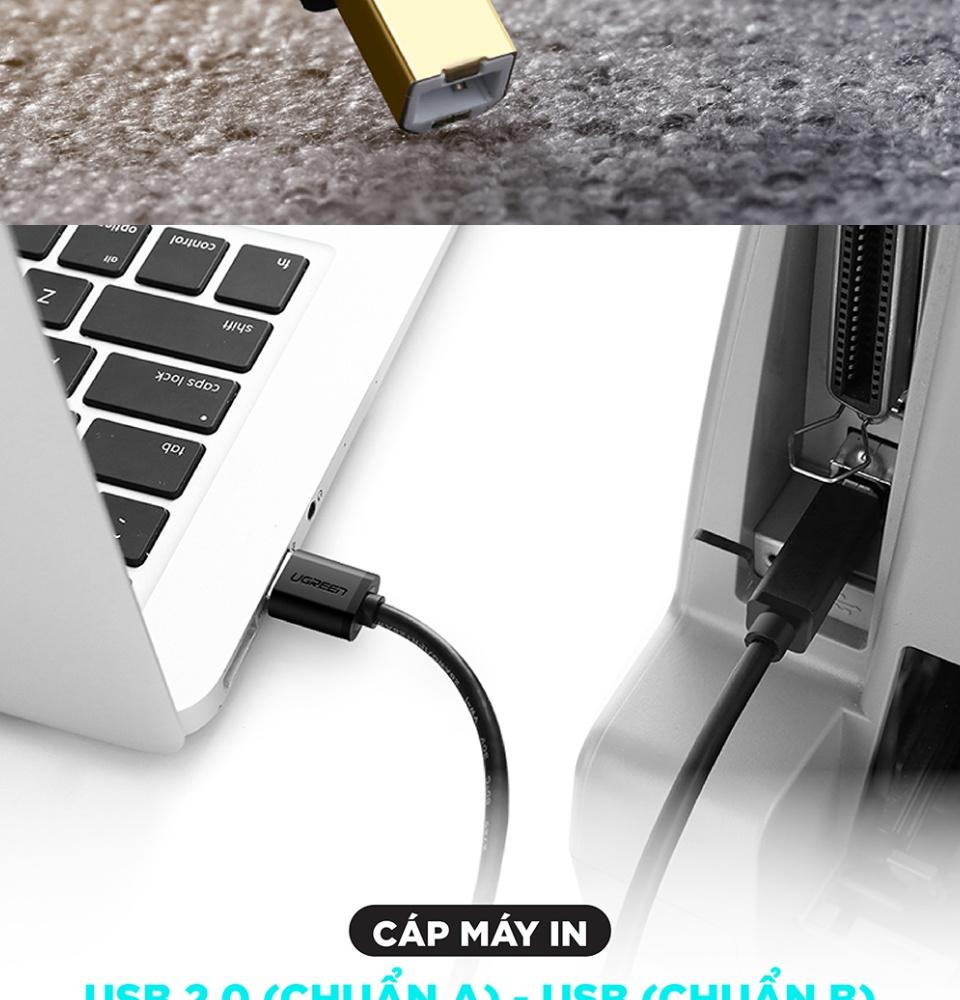 Dây máy in USB 2.0 chuẩn A đực sang chuẩn B đực 3M UGREEN US135 10351
