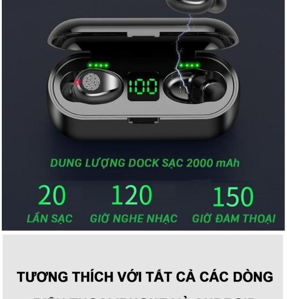 Tai Nghe Bluetooth Amoi F9 Bản Pro Quốc Tế Chip 5.0 , Chống Nước , Nút Cảm Ứng - Tai Nghe Bluetooth Amoi F9, Tai Nghe Bluetooth Nhét Tai Cho mọi dòng máy - Tai nghe buetooth không dây 8